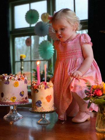Bithday pink floral smocked Amandine dress - Charlotte sy Dimby