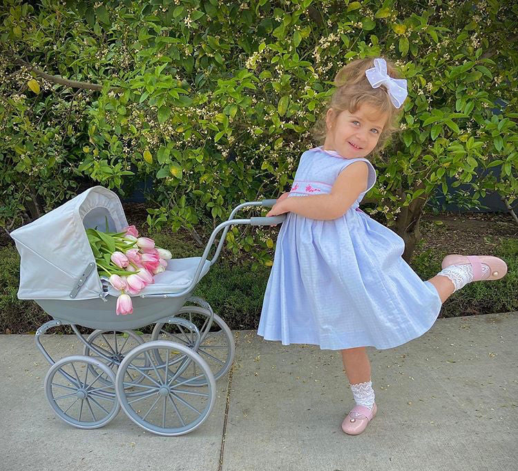 blue handmade smocked dress classic chic summer style for babies and girls