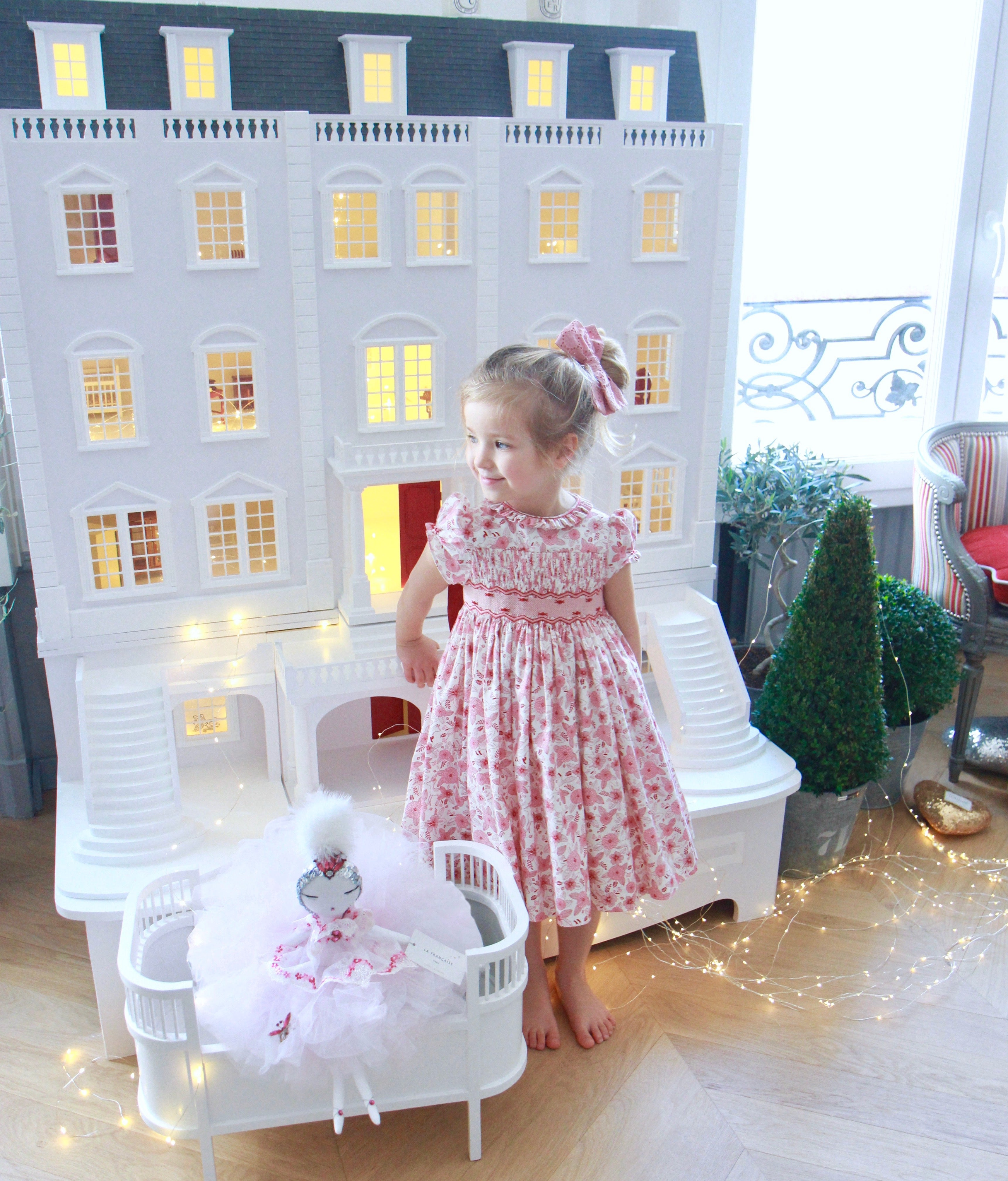 handmade smocked dress - Parisian style - little girl's doll house