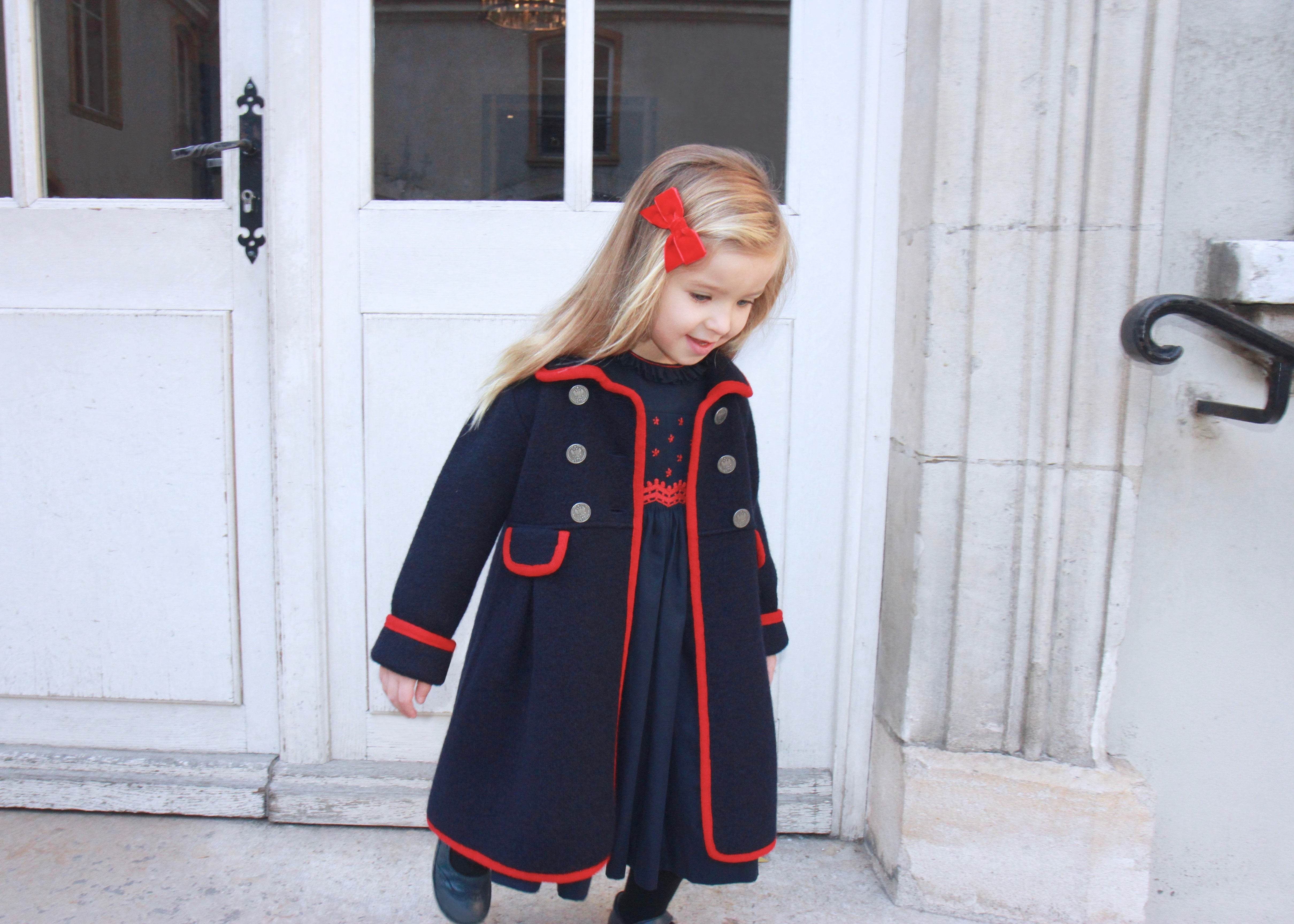 Marae chic navy and red winter coat Charlotte sy Dimby