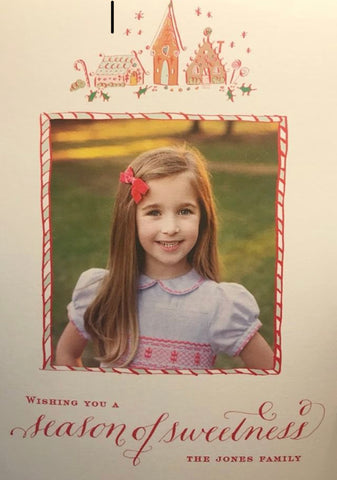 Christmas card handmade smocked dress Princess Charlotte