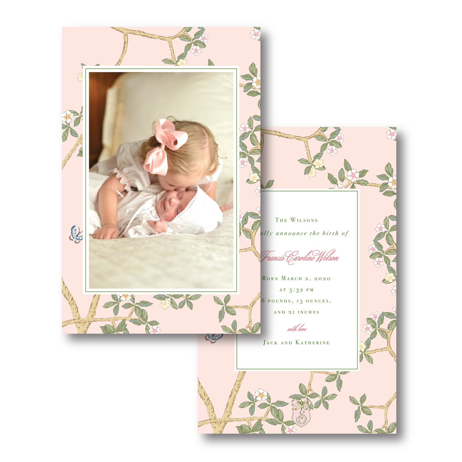 Custom made birth announcement card by Sweet Caroline Designs