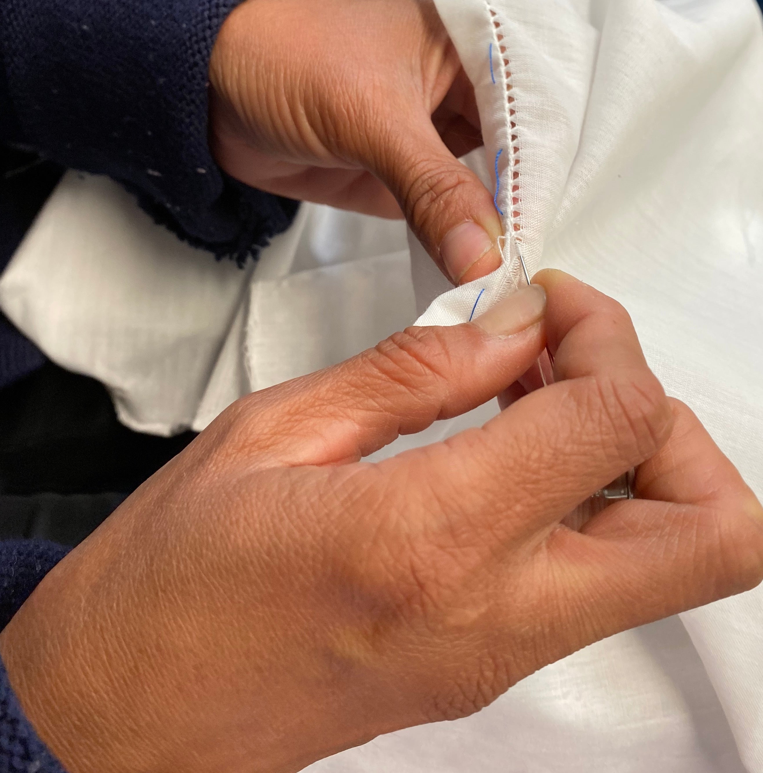 Handmade hem lining traditional techniques