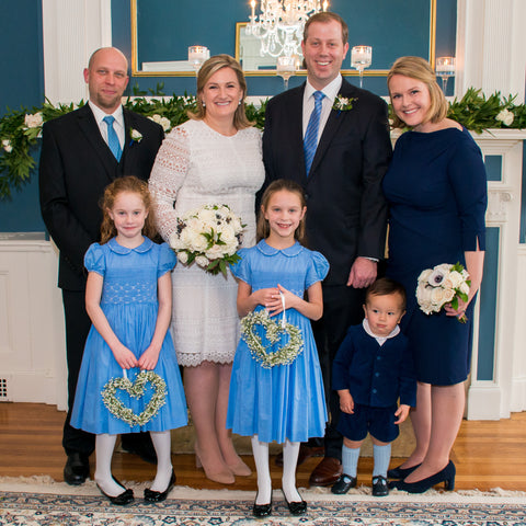 Flower girls in their Lavender blue Cerise smocked dresses