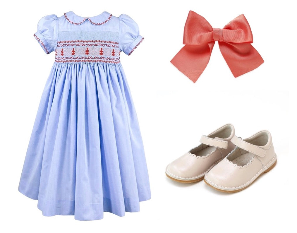 Princess Charlotte classic girl look -  smocked dress bow and Mary Jane
