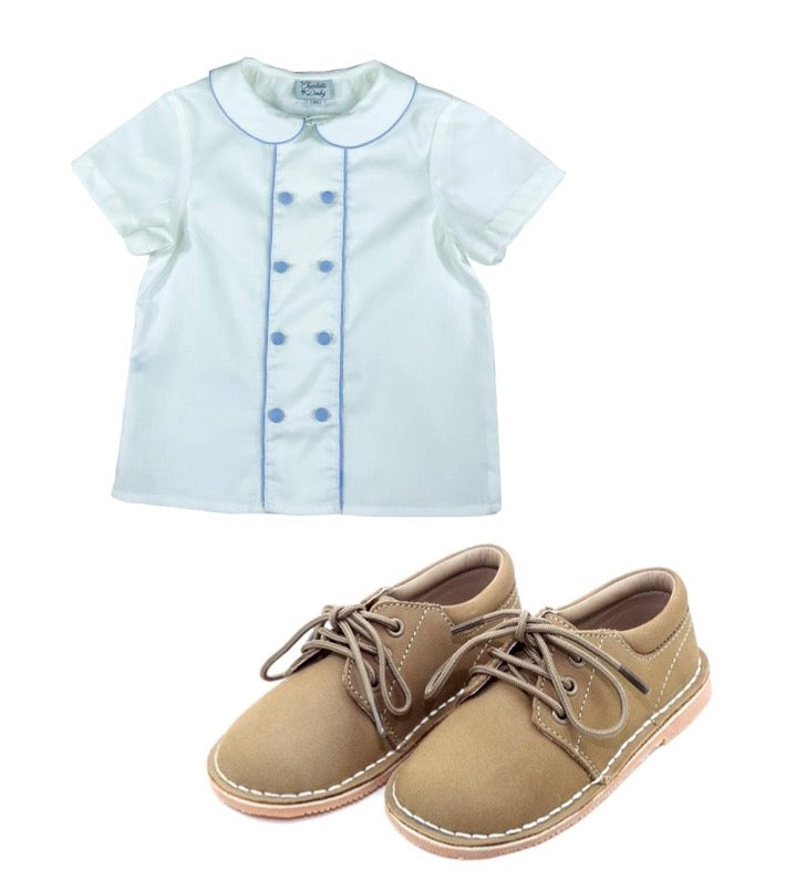 Prince George classic timeless shirt and shoes for boys