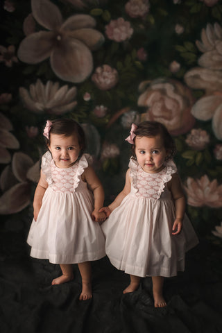 child photography twins matching smocked dresses ruffles