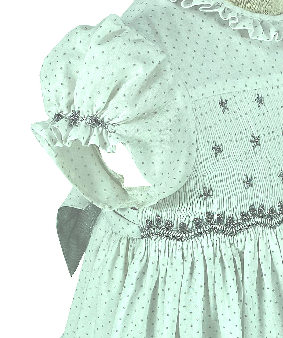 Handmade smocked dress couture details