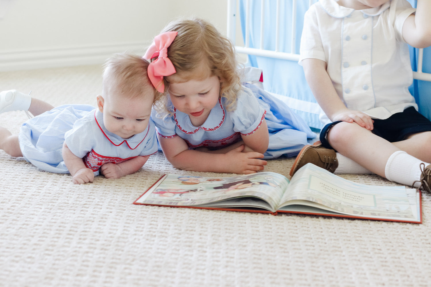 Royal family inspired matching sibling outfits - smocked dress and baby bubble