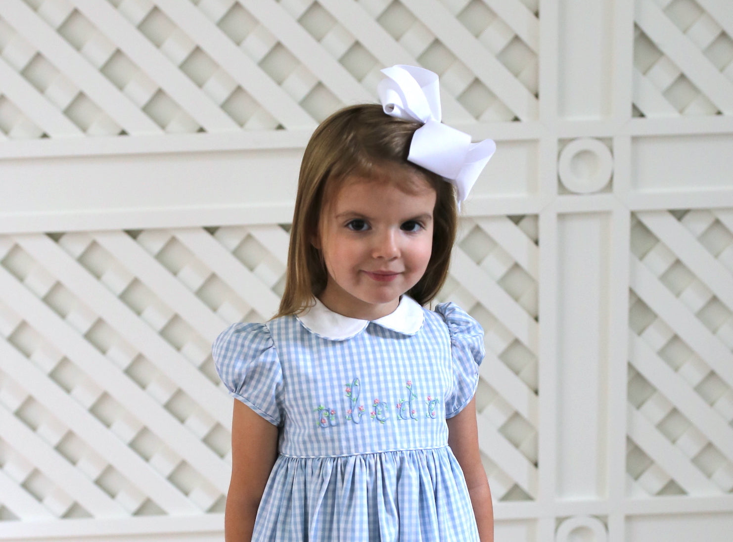 Back to school blue and white gingham dress for girls Born on Fifth