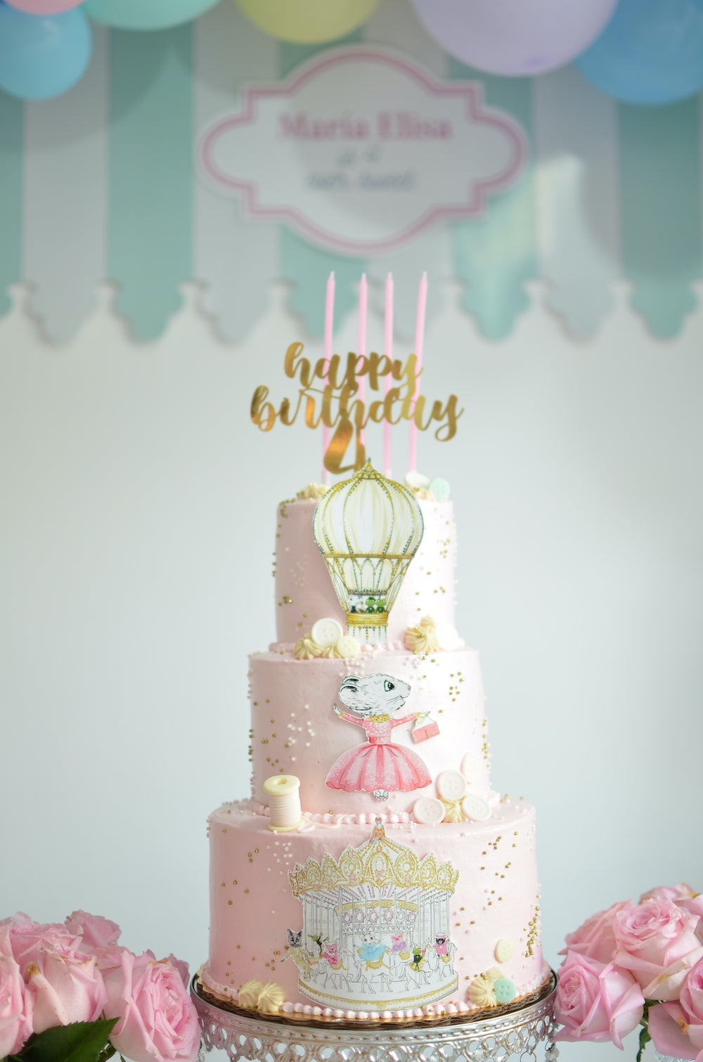 Charlotte sy Dimby dress and Claris the mouse in Paris children's party inspiration three layer cake