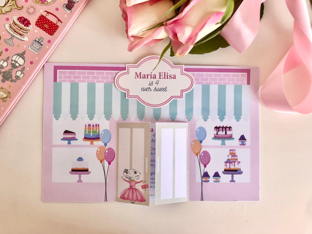 Charlotte sy Dimby dress and Claris the mouse in Paris children's party inspiration card invitation