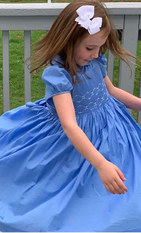 handmade smocked cerise glycine lavande dress summer frenchstyle handmade