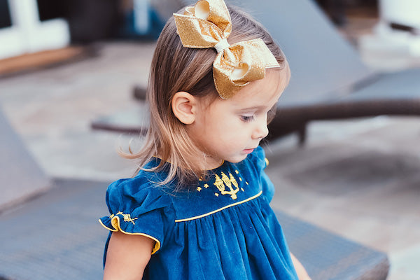 Blue velvet with gold embroideries children's Christmas dress