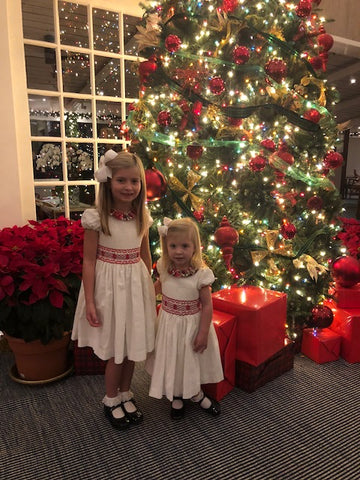 handmade white and red christmas dress velvet charlotte sy dimby girl