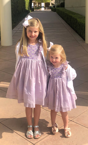 family picture handmade smocked dress purple ruffles charlotte sy dimby