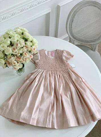 handmade party pink raw silk smocked dress charlotte sy dimby