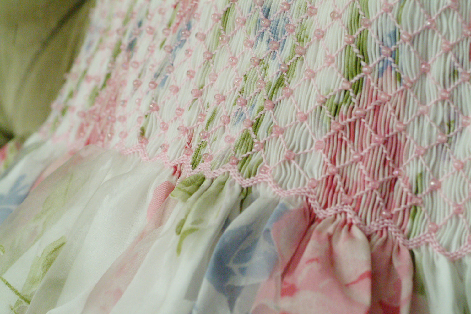 Handmade party pearled smocking - The story of our brand and know-how : the Charlotte sy Dimby design process