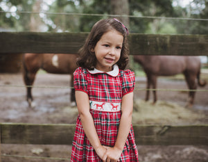horse themed red tartan cerise smocked dress charlotte sy dimby baby girl derby