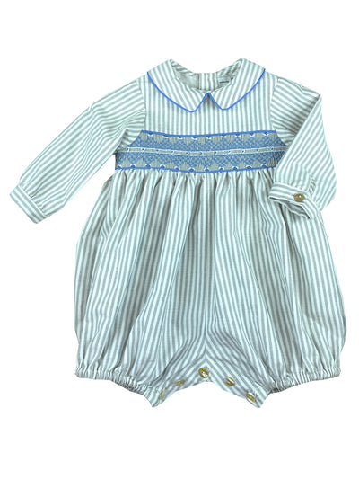 Precious handmade grey and white striped smocked bubble with long sleeves and shirt like collar & short legs for little boys.