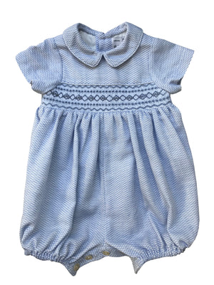 Handmade baby boy blue smocked bubble for an elegant chic style. Perfect baby gift.
