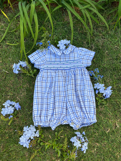 Classic chic blue plaid baby boy smocked bubble. Timeless children clothing
