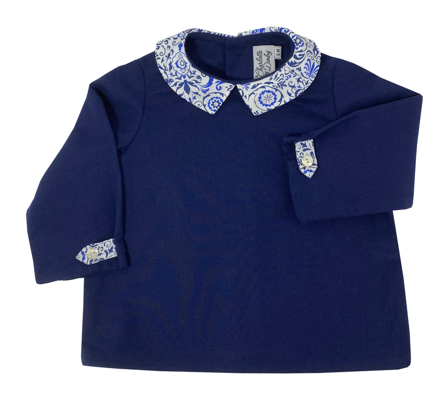 Handmade deep blue shirt with illusion print collar. Timeless classic French style for babies and toddlers. Chic handmade fall winter top.
