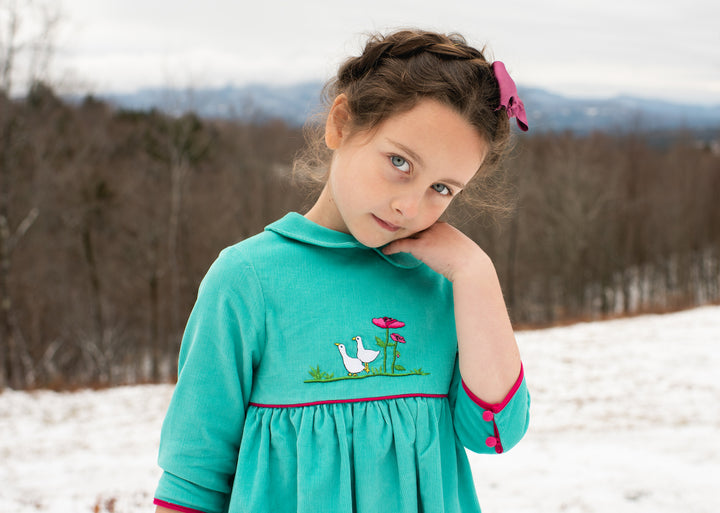 charlottesydimby-handmade-classic-chic-fall-winterdress-dress-girl-childwear-velvet-turquoise-green-goose-embroidery