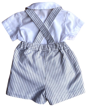 Born on Fifth -  Striped outfit with braces - classic chic baby boy outfit