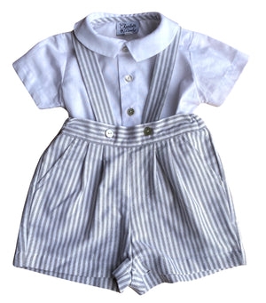 #I - George striped baby boy set with braces - Born on Fifth collection