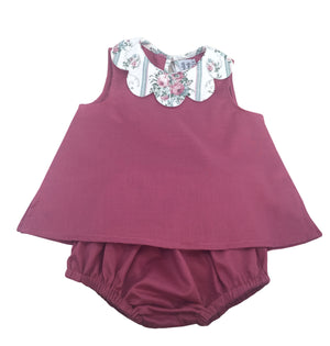 baby and girl summer coordinated outfit petal collar blouse and matching bloomer pink handmade charlotte sy dimby