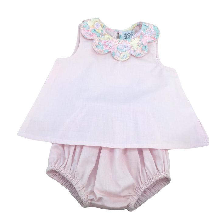 baby and girl summer coordinated outfit petal collar blouse and matching bloomer light pink handmade charlotte sy dimby