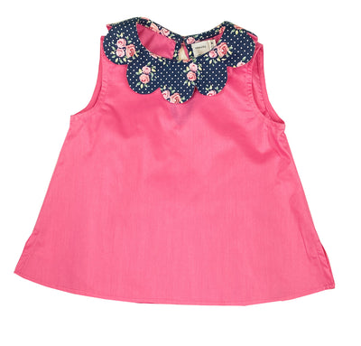 Summer sleeveless petal collar print pink blouse, chic French style for girls by Charlotte sy Dimby