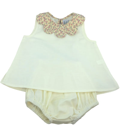 baby and girl summer coordinated outfit petal collar blouse and matching bloomer yellow flower print collar handmade charlotte sy dimby