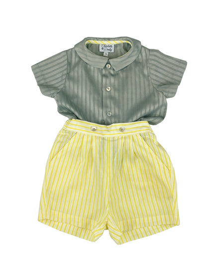 Little boy classic chic timeless spring summer outfit, grey shirt and yellow striped short, elegant French style for babies and toddlers