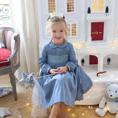 Handmade blue long sleeve winter smocked dress for babies and girls