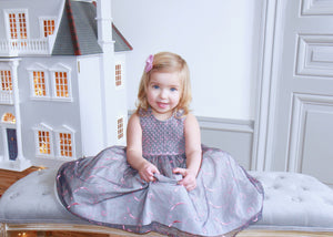 GREY EMBROIDERED ORGANZA JARDIN DRESS - PINK ORME SMOCKS