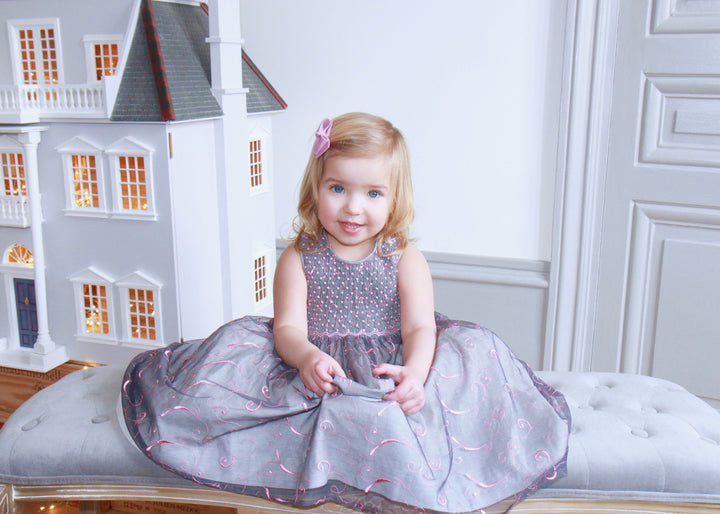 handmade grey smocked dress winter girl french style charlotte sy dimby pink organza party birthday
