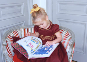 handmade-smocked-dress-winter-fall-baby-girl-classic-chic-french-style-bordeaux-gold-party-christmas-charlotte sy dimby