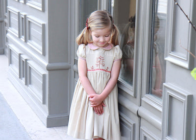 Handmade earth beige cerise smocked dress with tree of life smocks, classic elegant French style for little girls