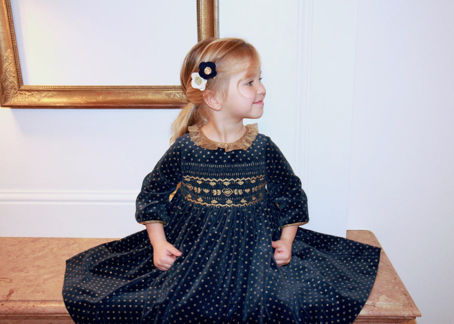 velvet handmade navy smocked dress baby girl charlotte sy dimby frenchstyle paris kids classic christmas gold
