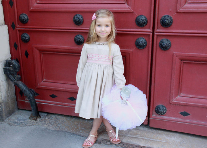 Handmade baby and girl muted beige amandine dress with pink flower smocks, fall winter classic chic neutral tone outfit.