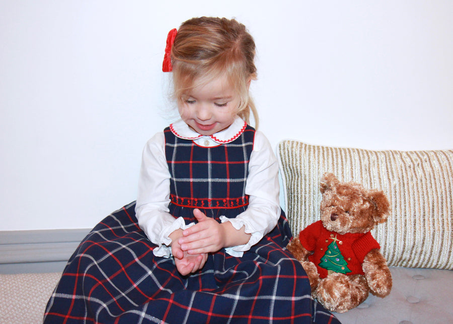 handmade tartan outfit dress white blouse embroidery navy christmas chic classic french style charlotte sy dimby girl baby