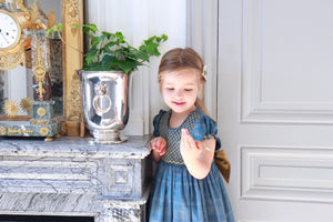 handmade smocked dress charlotte sy dimby  timeless style portrait heirloom party blue gold girl kids