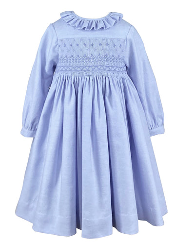 Long sleeve baby and girl blue smocked dress  - classic children's clothing  - Charlotte sy Dimby - Born on Fifth - Bows & Blue -  Emily Hertz