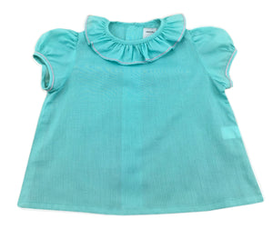 TURQUOISE GREEN MARIE BLOUSE