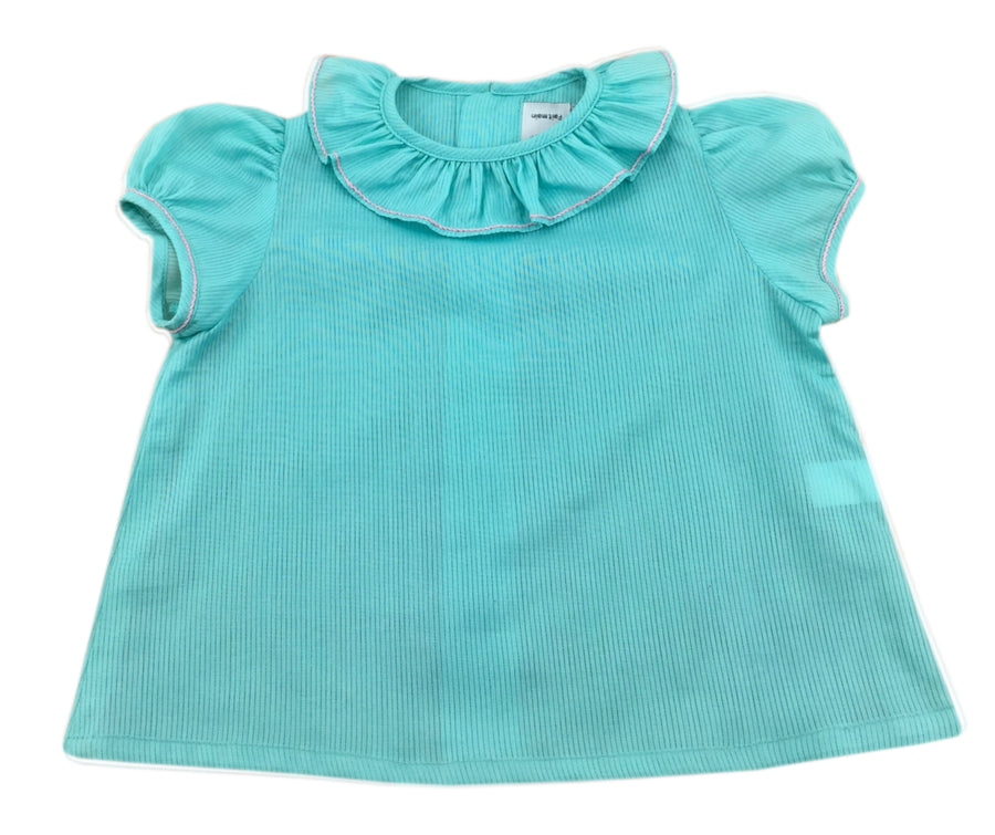 handmade baby girl blouse green turquoise summer charlotte sy dimby classic chic frenchstyle