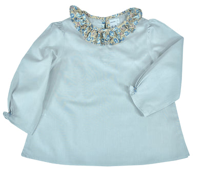 blue grey girls blouse with scallop collar, daily chic top by Charlotte sy Dimby