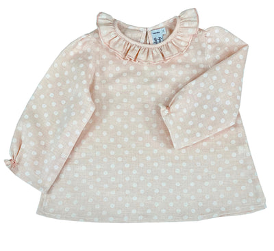 pastel pink polka dot girls blouse with scallop collar, daily chic top by Charlotte sy Dimby