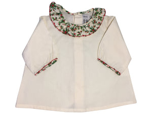 white handmade blouse christmas holly print charlotte sy dimby frilled collar frenchstyle baby girl